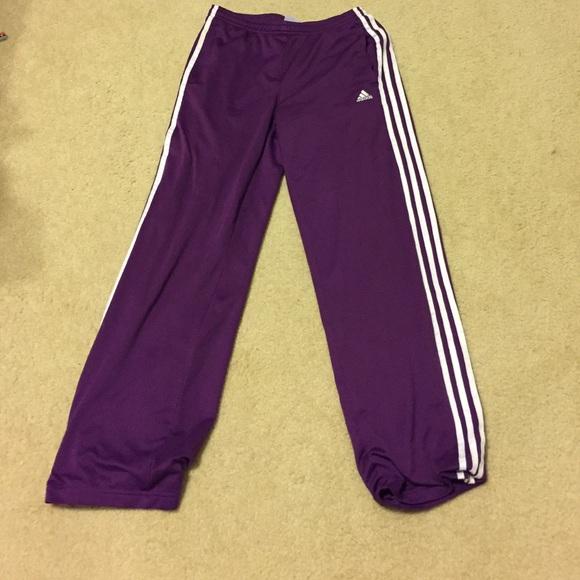 purple adidas pants