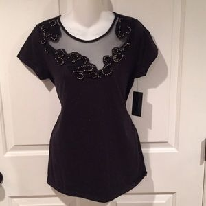NWT Guess dark coal heather top with white specks