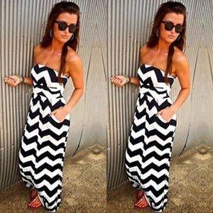 Strapless chevron print maxi dress