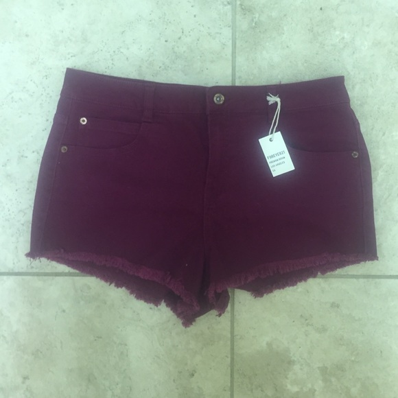 64% off Forever 21 Pants - high waisted burgundy shorts from ...