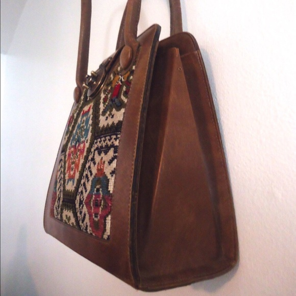 38 Off Vintage Handbags 60s Tapestry Leather Purse Hand