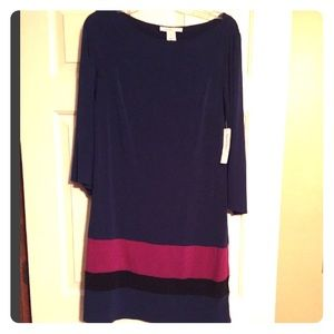 Navy blue and maroon striped dress