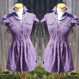 Dresses & Skirts - Purple Gingham Button Up Delias Dress