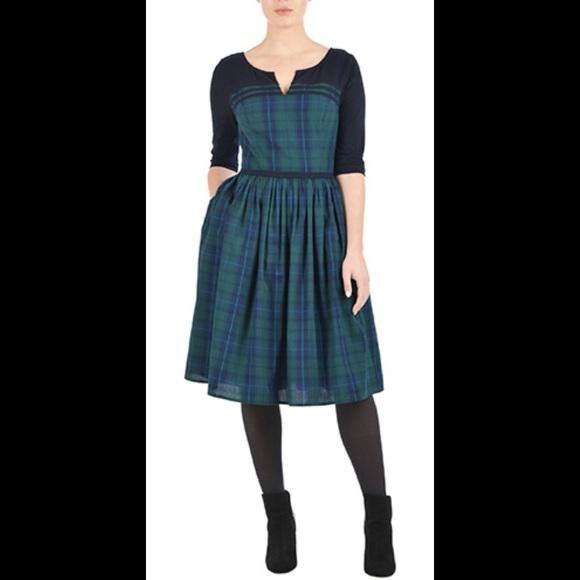 Eshakti Dresses New Green Plaid Fit Flare Dress 18w