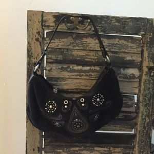 Black suede purse by Fossil