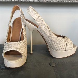 L.A.M.B. Shoes - LAMB white woven heels
