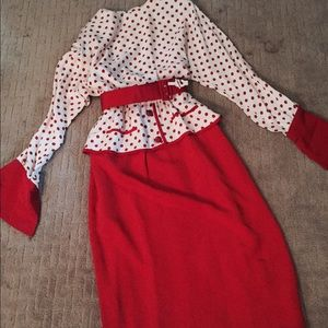 FANTASTIC vintage polkadot peplum pinup dress