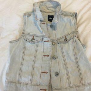 Gap light wash denim vest