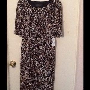 Black/Tan/Cream Wrap Front Dress