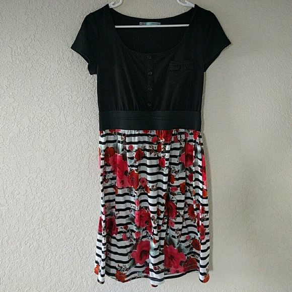 Maurices Dresses Black And White Striped Dress With Red Flowers