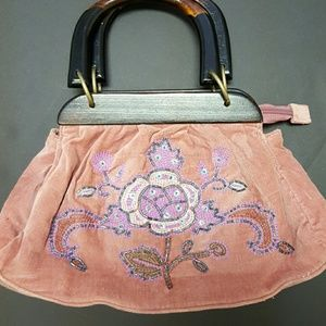 Boho hand bag. Embroidered with wooden handles.