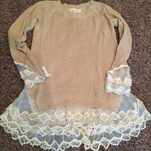 Spool 72 Sweaters - EUC Spool 72 tan lace sweater S/M