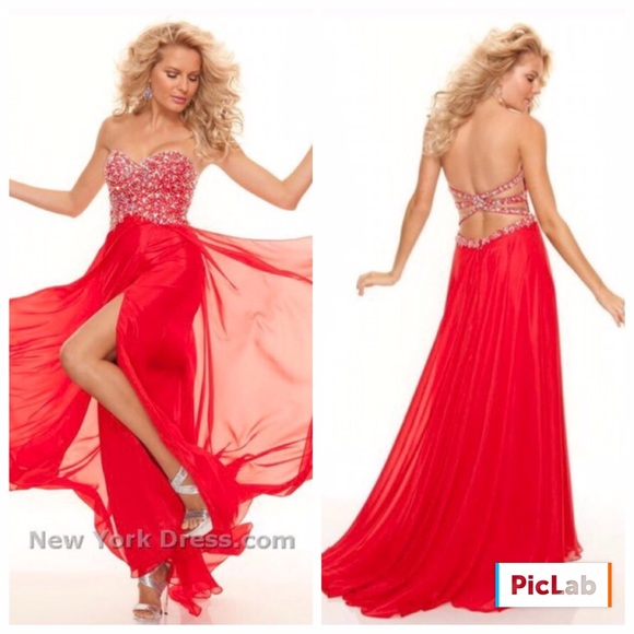 Red Mori Lee size 0 strapless prom dress