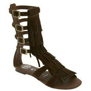 Jeffrey Campbell Shoes - Jeffrey Campbell 'Top' Fringe Gladiator Sandal