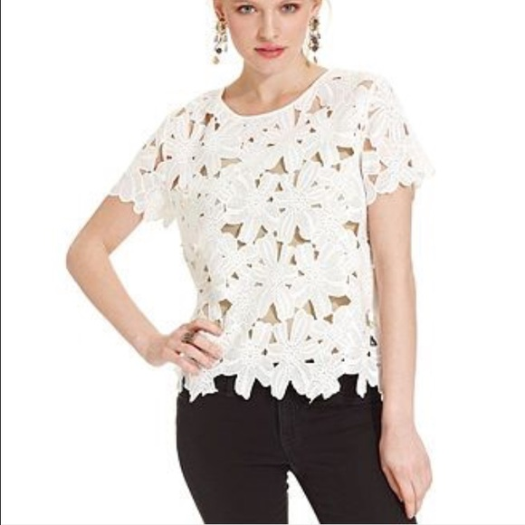 Tops white flower cut out top poshmark white flower cut out top mightylinksfo