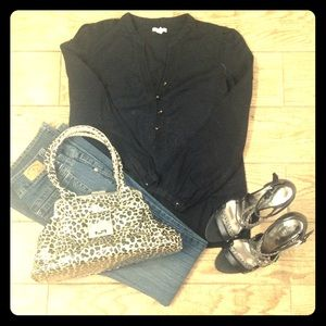 Black semi-sheer thin top with dark brass buttons