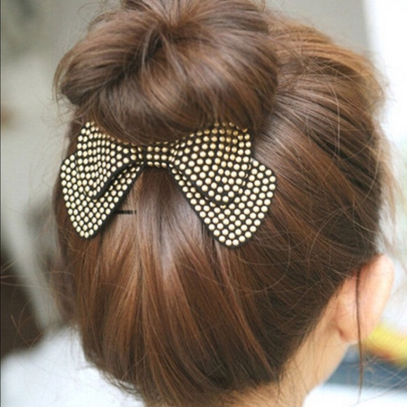 Off Boutique Accessories High Bun Bow In Studded Burgundy - Hairstyle bun with bow
