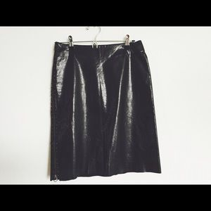Vivienne Tam Leather Black Skirt