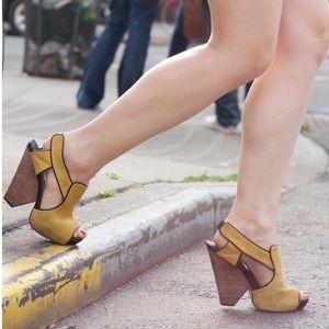 Kathryn Amberleigh Shoes - Kathryn Amberleigh yellow suede wedges