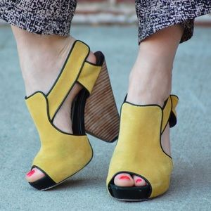 Kathryn Amberleigh Shoes - Kathryn Amberleigh yellow suede wedges