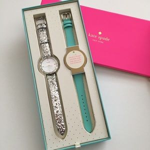 Kate Spade Glitter Crystal Watch Set w/ extra band