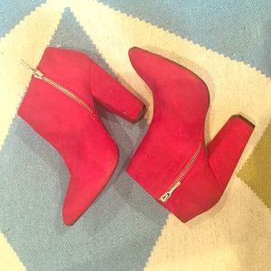 Zara Red Suede Ankle Booties