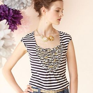 Anthropologie Tops - Anthropologie Red Bouquet of Stripes Tee GUC