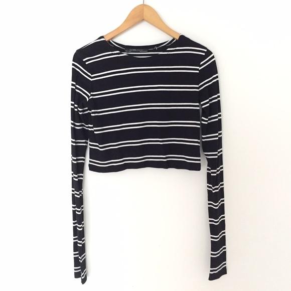 3ee704f267a Zara Tops | Striped Long Sleeve Crop Top | Poshmark