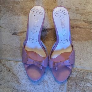 Used pink heeled sandals by Charles David