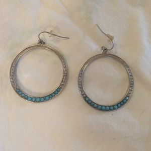 Jewelry - Silver and turquoise hoop earrings