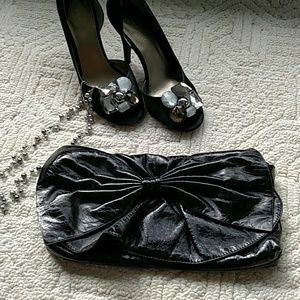 Black Vegan Leather Clutch