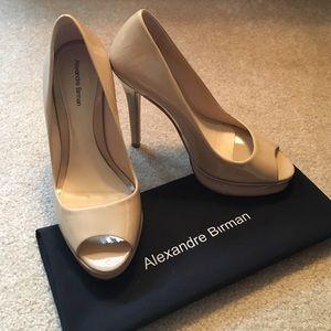 Alexandre Birman Shoes - Alexandre Birman Nude Peeptoe Pumps