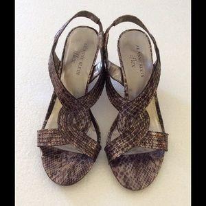 Shoes - Anne Klein AK 'Parma' Pewter wedge Sandals 6M