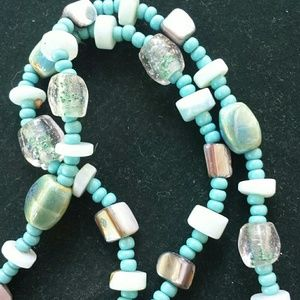 Gorgeous Stone Glass She'll Bead Necklace