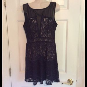 Rewind Dresses - Navy lace and black sheer dress