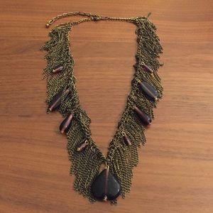 Cascading Fringe Tassel purple bead necklace