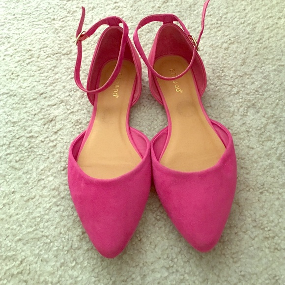 aa474985a3305 Hot pink pointed toe flats