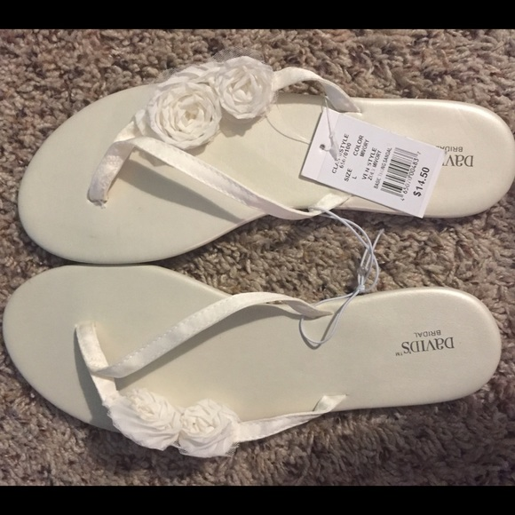 64edc7ae5f3e David s Bridal Shoes - David s Bridal White Ivory Bridal flip flops