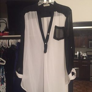 Necessary Clothing Tops - Black & White Sheer Top