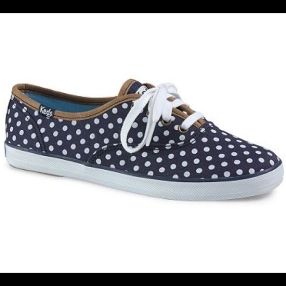 blue and white polka dot keds