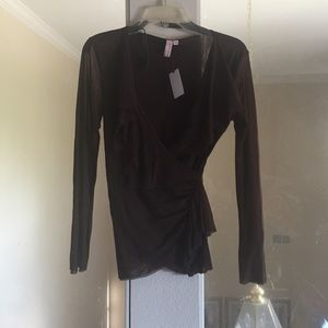 Sweet Pea by Stacy Frati brown V wrap blouse