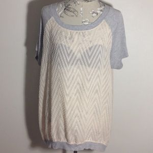 Olivia Moon Tops - Olivia Moon Textured  Sheer Pullover Top XL