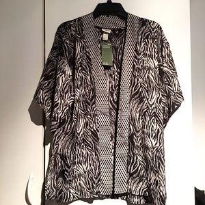 Zebra print kimono cover-up blouse NWT