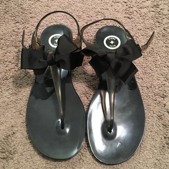 dc0d2fa2c604 BCBG Shoes - Bcbg Paris black jelly with bow sandals