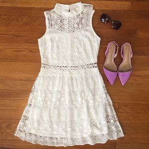 Dresses & Skirts - White lace high neck dress