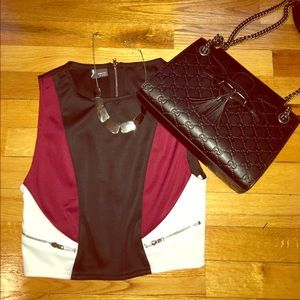 Sparkle & Fade Tops - Cropped Colorblock
