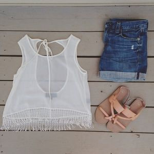 Swell Tops - Sheer fringe tank top