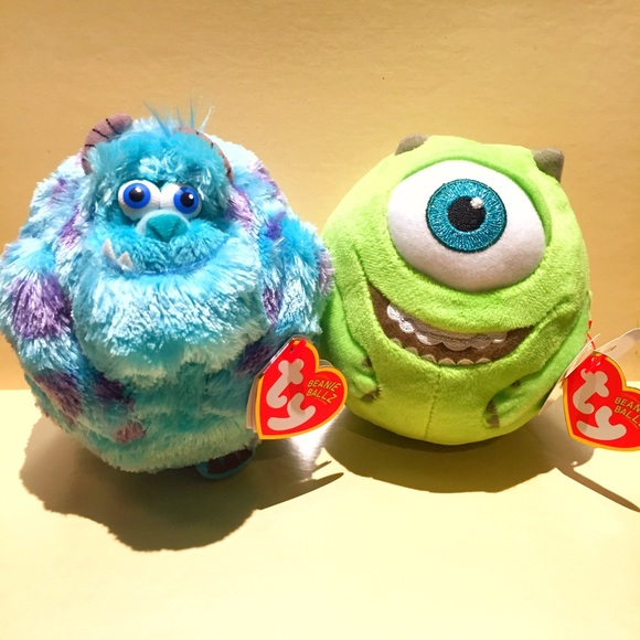 d3243f9ed8a Disney Monster s Inc TY Beanie Ballz Sulley   Mike