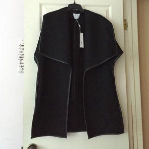 Halston Heritage Black Wool Poncho