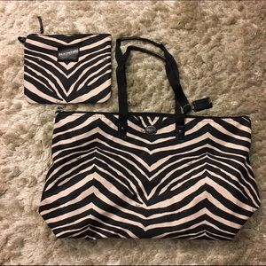 Coach Zebra Print Packable Weekender Bag and Pouch